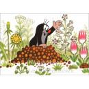 Postkarte | Der kleine Maulwurf im Blumenfeld