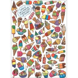 Wimmelbild Postkarte - Eis mit Herzwaffel