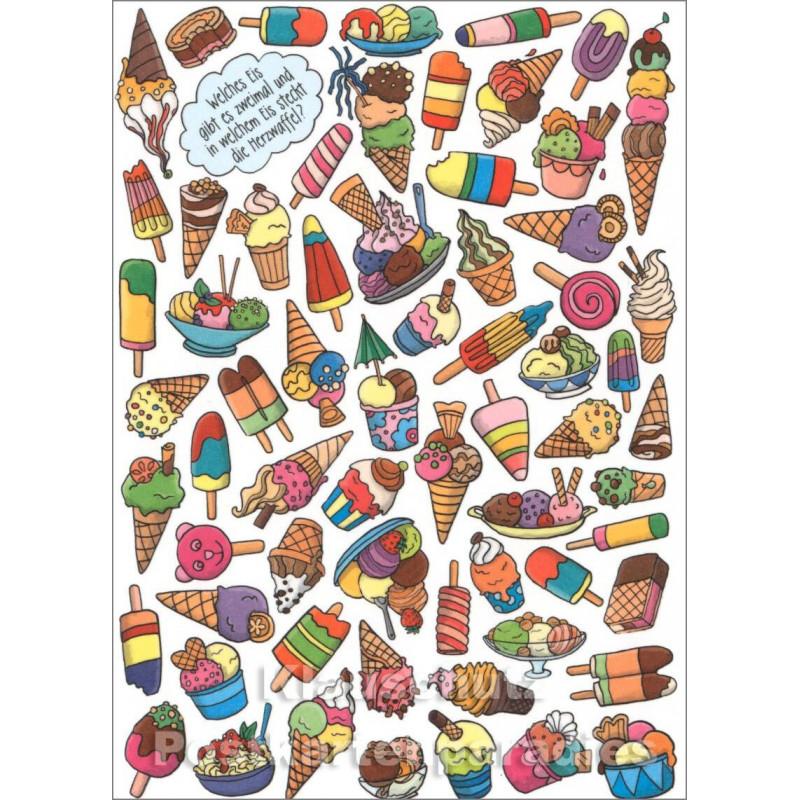 Wimmelbild Postkarte von SkoKo - Eis mit Herzwaffel