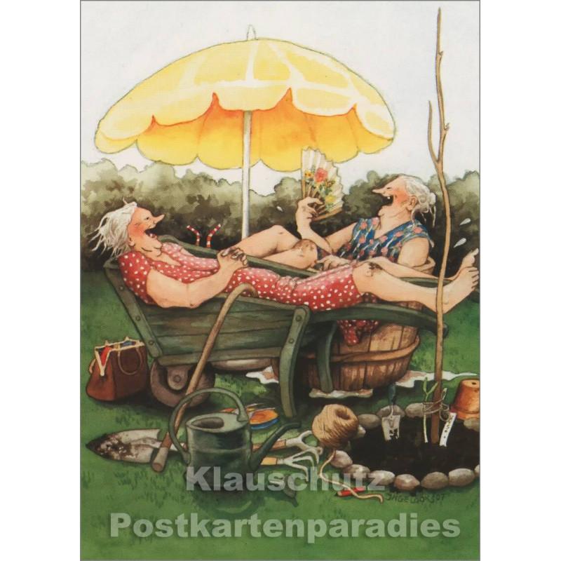 Postkarte - Alte Frauen Sommerfrische