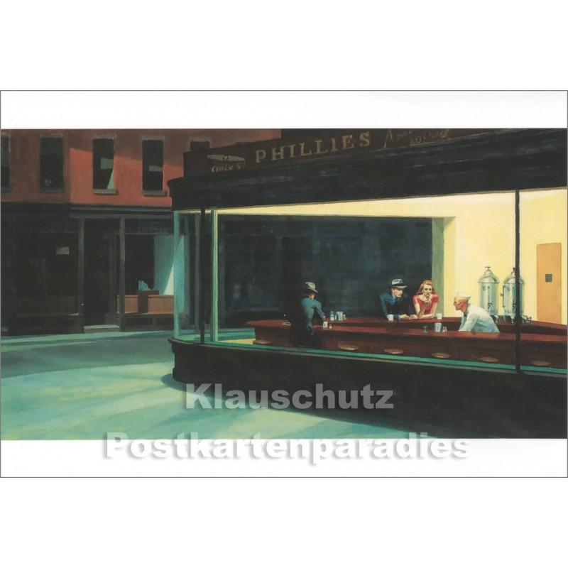 Doppelkarte | Kunstkarte Edward Hopper - Nighthawks