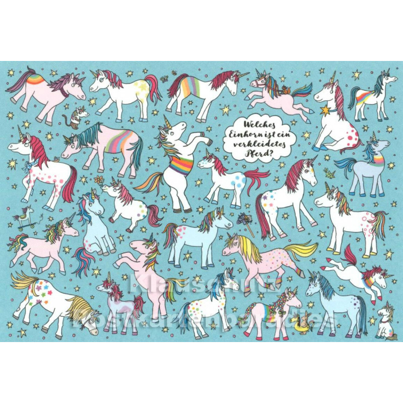 Wimmelbild Postkarte - Einhörner