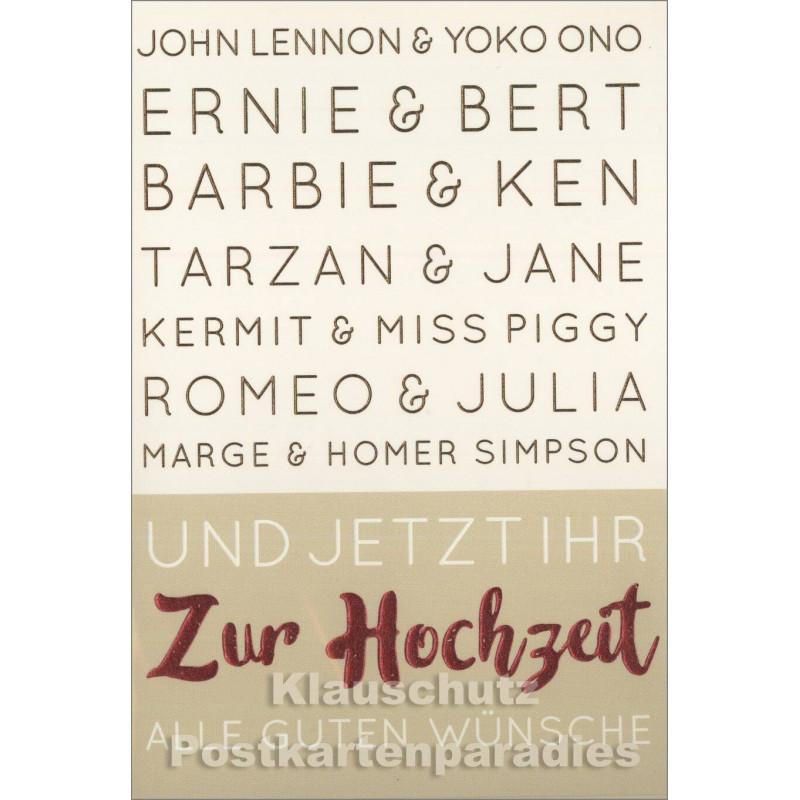 Und jetzt ihr - Doppel Hochzeitskarte