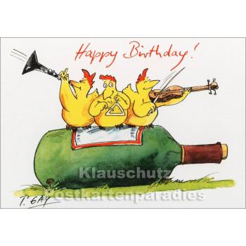 Happy Birthday mit Hühnern - Gaymann Geburtstagskarte