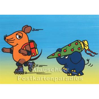 Maus und Elefant mit Schultüte | Postkarte