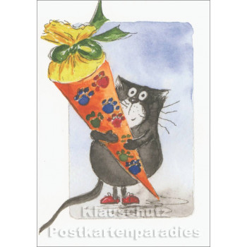 Katze mit Schultüte | Kinder Postkarte