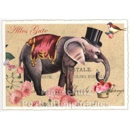 Retro Glitterkarte - Elefant mit Zylinder