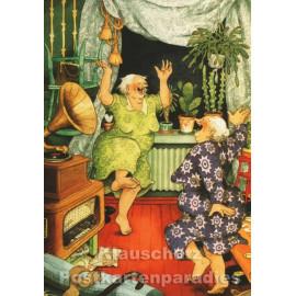 Postkarten von Inge Löök (Finnland) - Alte Frauen tanzen zur Musik aus dem Grammophon