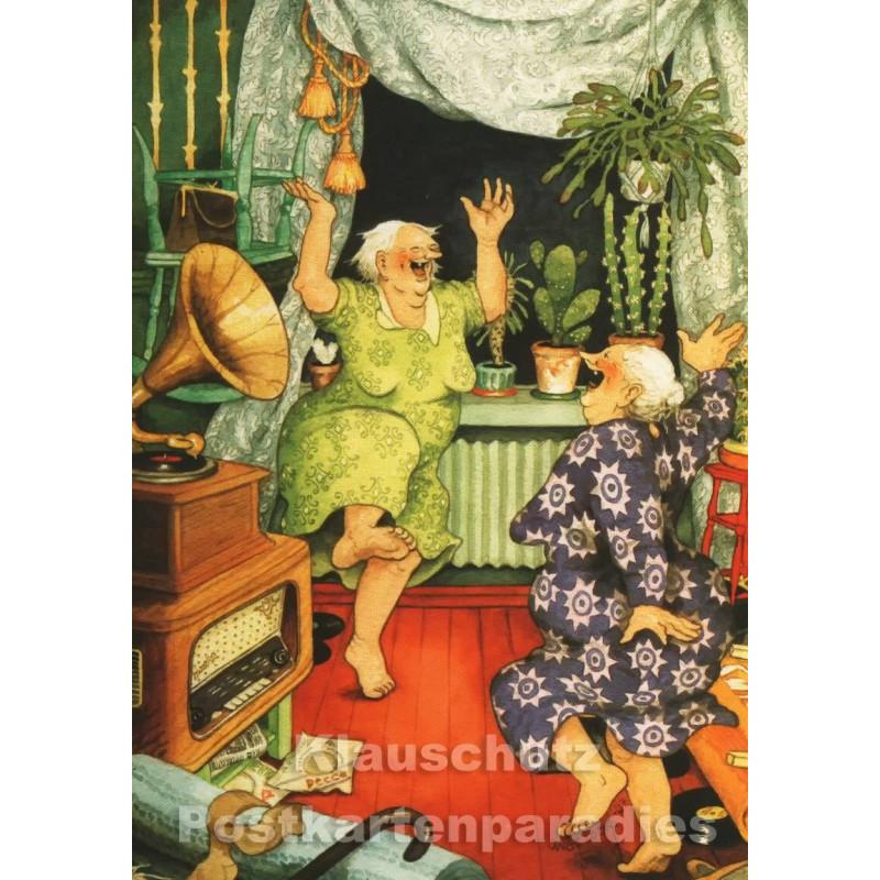 Postkarte - Alte Frauen Grammophon