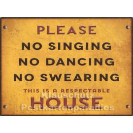 PosterCard - No Singing   24 x 18 cm