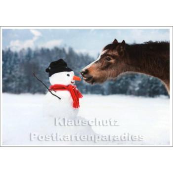 Pferd und Schnemann Winter Postkarte