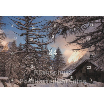 Adventskalender Postkarten - Alpen im Winter