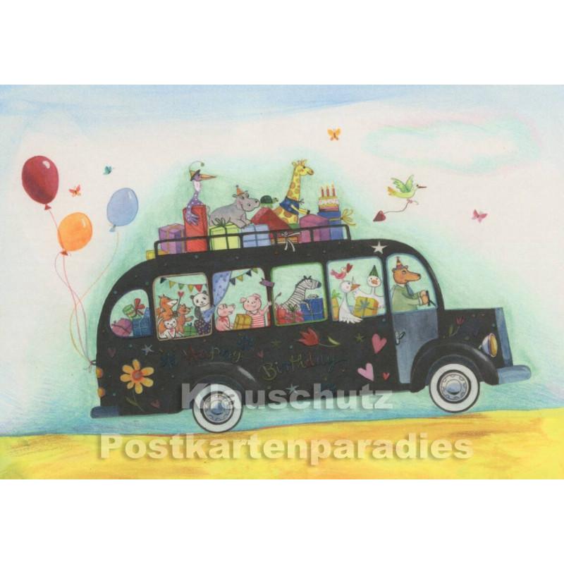Bus voller Tiere und Geschenke | Geburtstagskarte