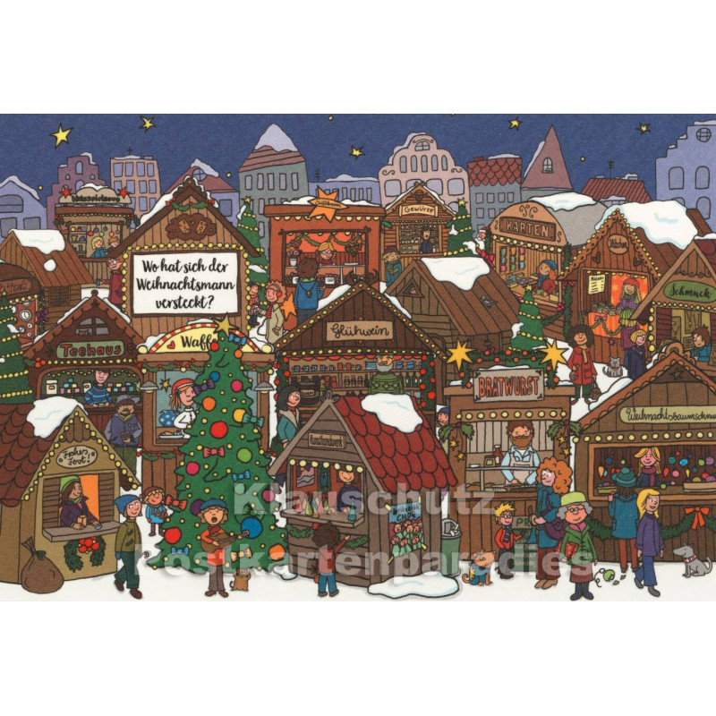 Wimmelbild Doppelkarte Weihnachten - Wo ist der Weihnachstmann