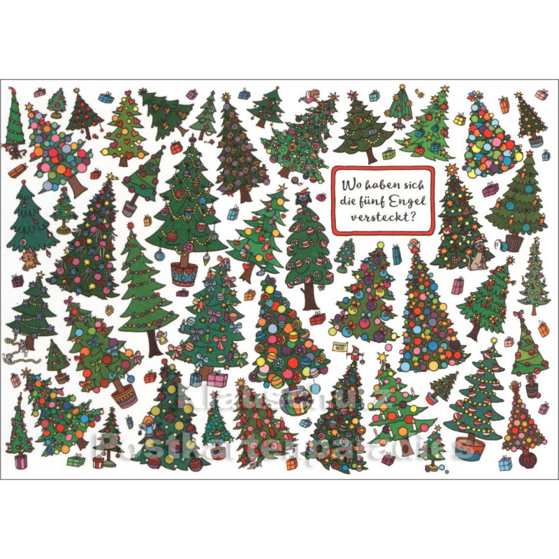 Fünf Engel | Wimmelbild Weihnachtskarte