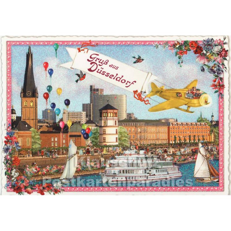 Retro Glitterkarte - Gruß aus Düsseldorf