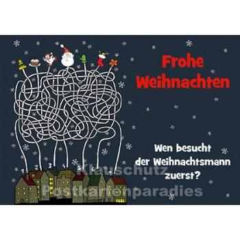 Wimmelbild Besuch vom Weihnachtsmann | Weihnachtskarte vom Postkartenparadies