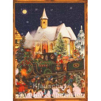 Nostalgie Adventskalender als Postkarten Doppelkarte