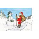 Lebende Karte - Weihnachtsmann und Schneemann