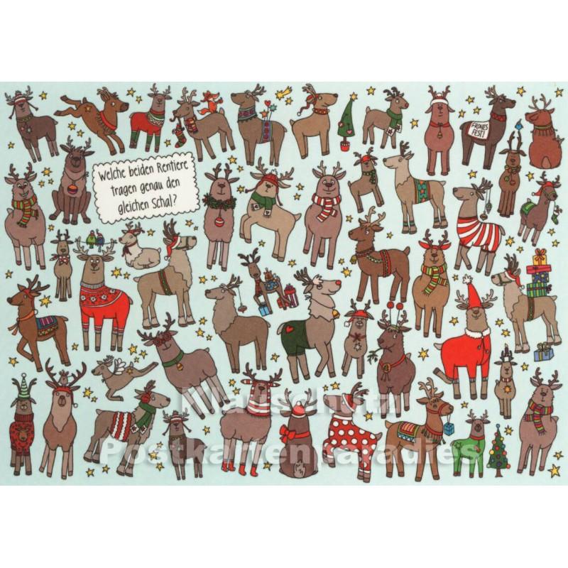 Rentiere | Wimmelbild Weihnachtskarte