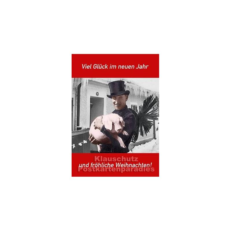 Schornsteinfeger und Schwein | Postkarte Neujahr