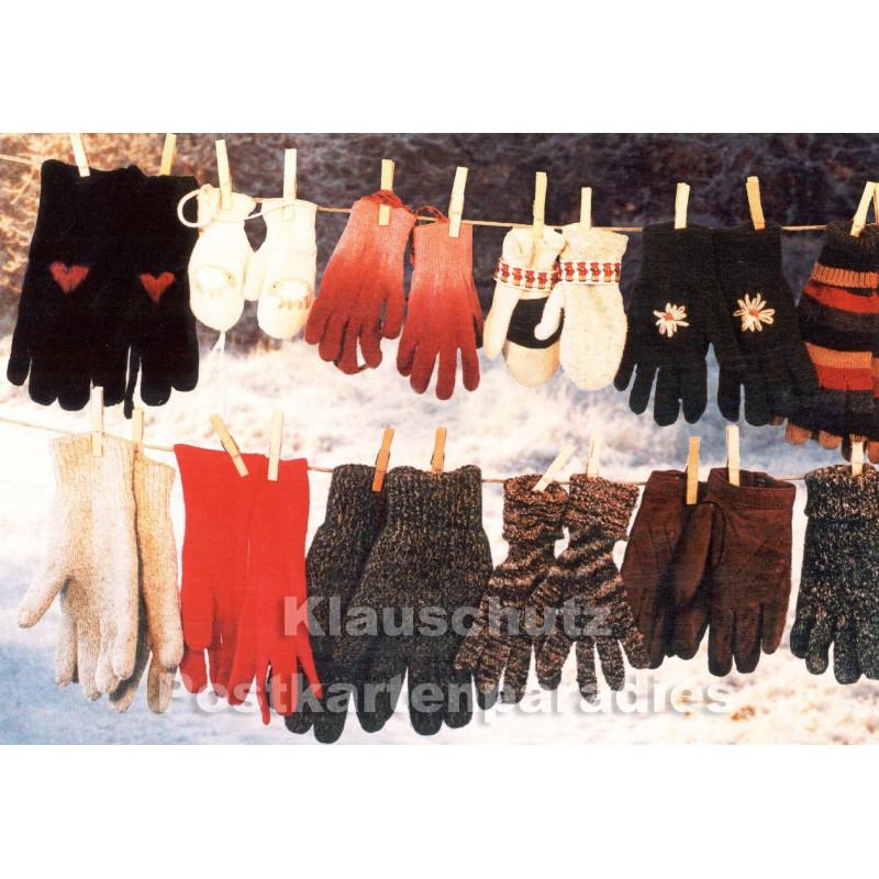 Hamdschuhe auf der Leine | Weihnachtskarte