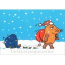 Maus und Elefant bringen Weihnachtsgeschenke | Postkarte