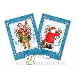 Lebende Karte - Weihnachtsmann und Elch