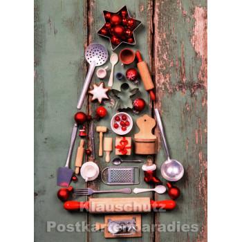 Doppelkarte - Weihnachtsbaum Küchenutensilien