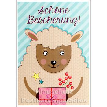 Schöne Bescherung | Weihnachtskarte Schaf