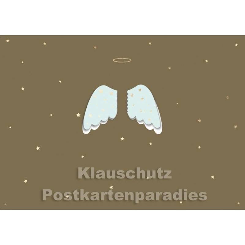 Postkarte Weihnachten - Engelsflügel (ausklappbar)