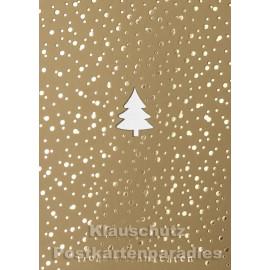 Goldfarbe Postkarte Weihnachtsbaum (gestanzt)