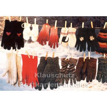 Klappkarte Weihnachten - Handschuhe auf Leine