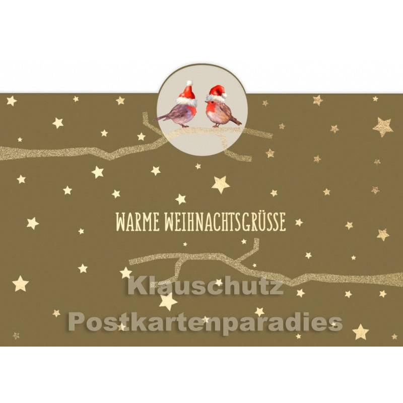 Weihnachtsgrüße Postkarte.Goldfarbene Postkarte Mit Rotkehlchen