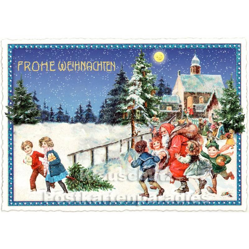 weihnachtsidylle nostalgie weihnachtskarte mit glitter. Black Bedroom Furniture Sets. Home Design Ideas