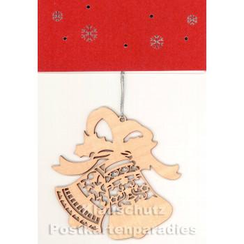 Doppelkarte Weihnachten | Holzanhänger Glocken