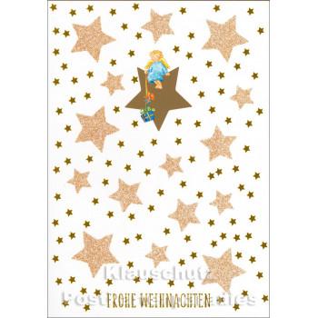 Goldfarbene Doppelkarte Weihnachten mit Engel