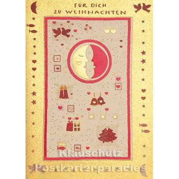 Doppelkarte goldfarben - Für Dich zu Weihnachten