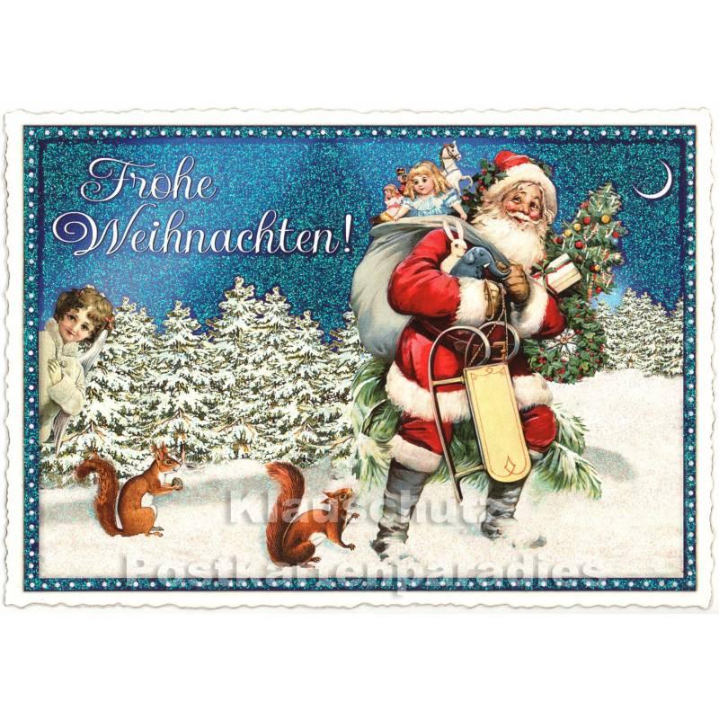 nostalgie weihnachtskarte mit weihnachtsmann und eichh rnchen. Black Bedroom Furniture Sets. Home Design Ideas
