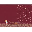 Postkarte Weihnachten rot - Engel mit Sternen