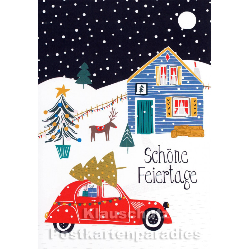Doppelkarte Weihnachten Winterlandschaft