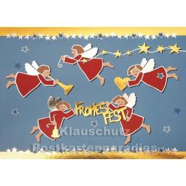 Frohes Fest | Weihnachtskarte goldfarben