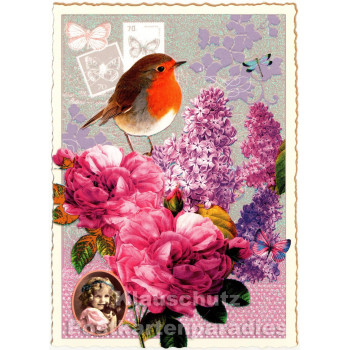 Retro Glitterkarte - Rotkehlchen