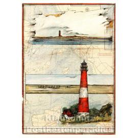 Leuchtturm Postkarte Pellworm