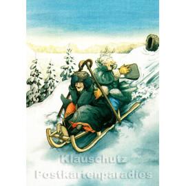 Postkarte - Alte Frauen Schlittenfahrt