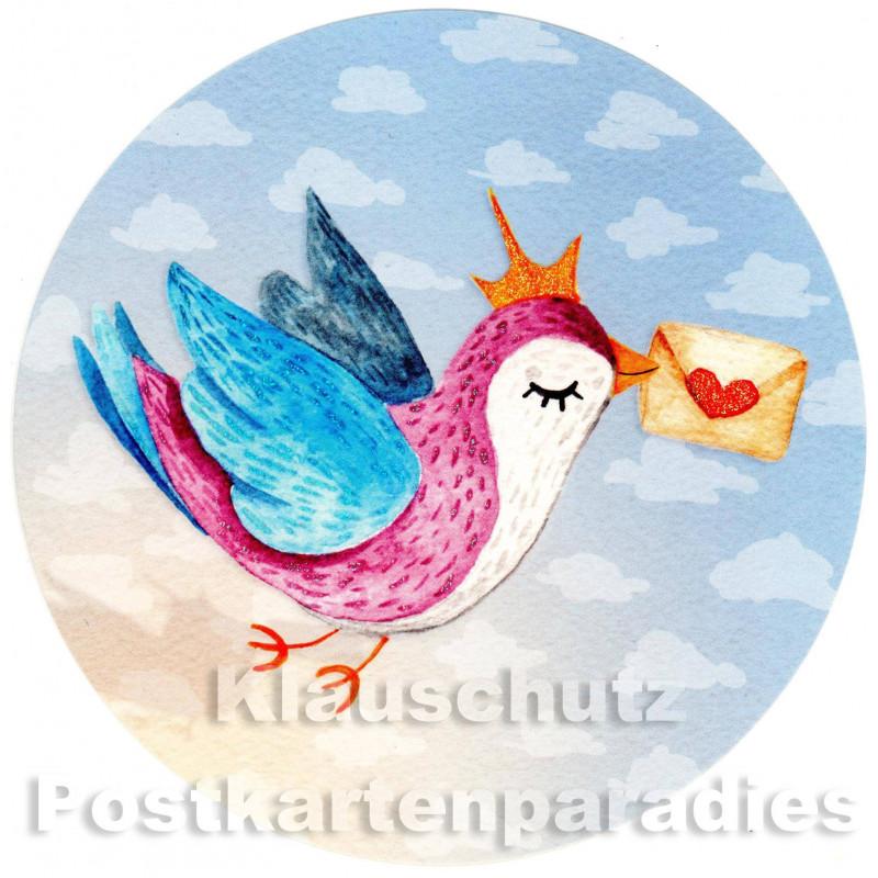 Runde Postkarte - Vogel mit Liebesbrief