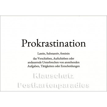 Prokrastination | Wortschatz Postkarte