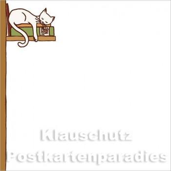 Klebezettel - Katze im Bücherregal