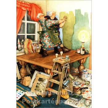Inge Löök Postkarte - Alte Frauen tanzen auf dem Tisch