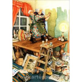 Postkarte - Alte Frauen tanzen auf dem Tisch